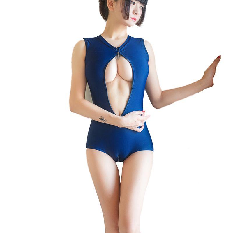 Japonais chaud Sukumizu École maillot de bain maillot de bain femme mai feminino maillot de bain Sexy Deux Fermeture Éclair maillots de bain Bikini Avec Tampon