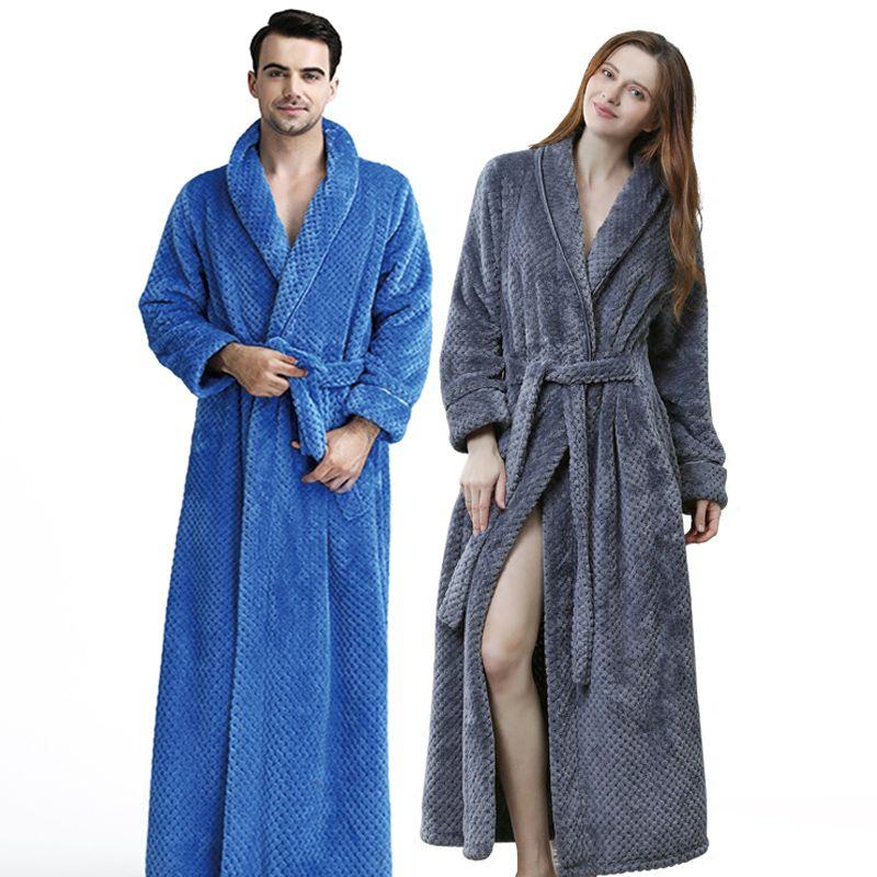 Men Winter Extra Long Knitted Waffle Flannel Coral Fleece Bathrobe Male Full Sleeve Kimono Bath Robe Women Warm Dressing Gown