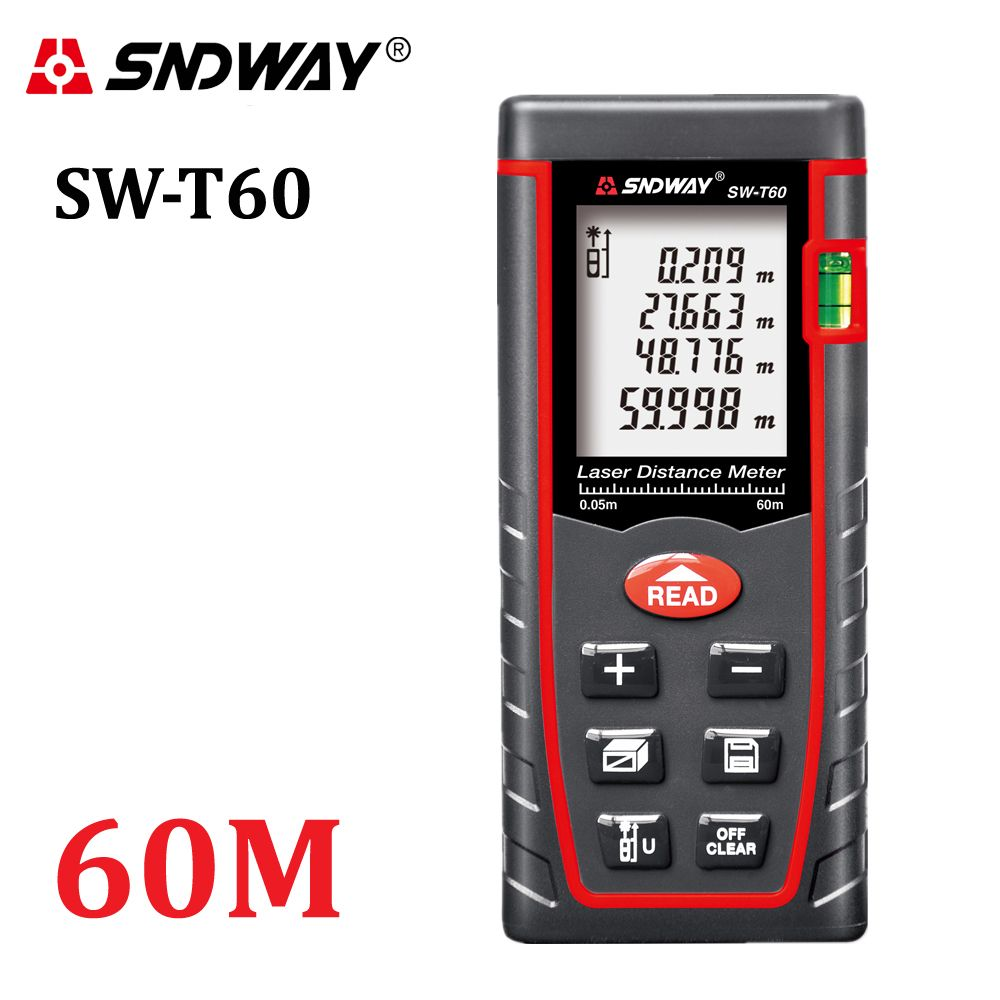 Genuine <font><b>SNDWAY</b></font> 60m Digital laser rangefinder RZ60 197ft distance meter range finder Area-volume-Angle Tester tool
