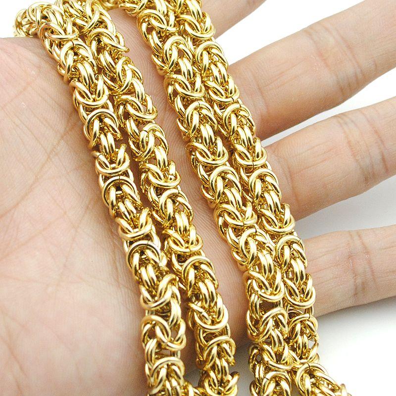 AMUMIU Top qualité 7mm chaîne en or énorme et lourd longue corde en acier inoxydable hommes chaîne collier lien en gros KN010