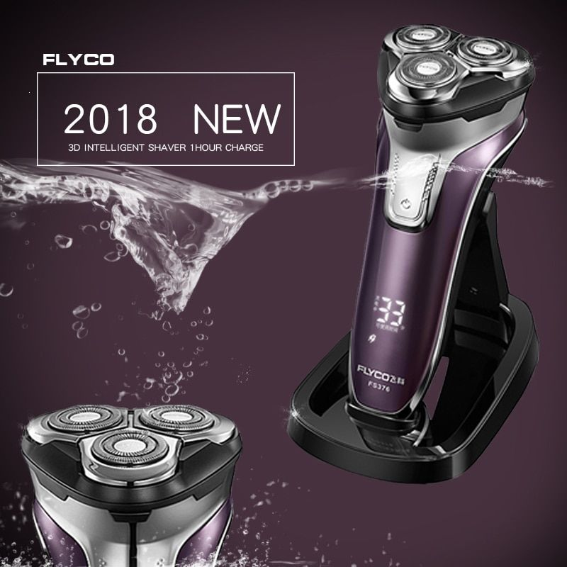Flyco 3D floating head Rechargeable Portable body <font><b>washable</b></font> Electric Shaver Led Light Fast Charge Triple Blade barbeador FS376