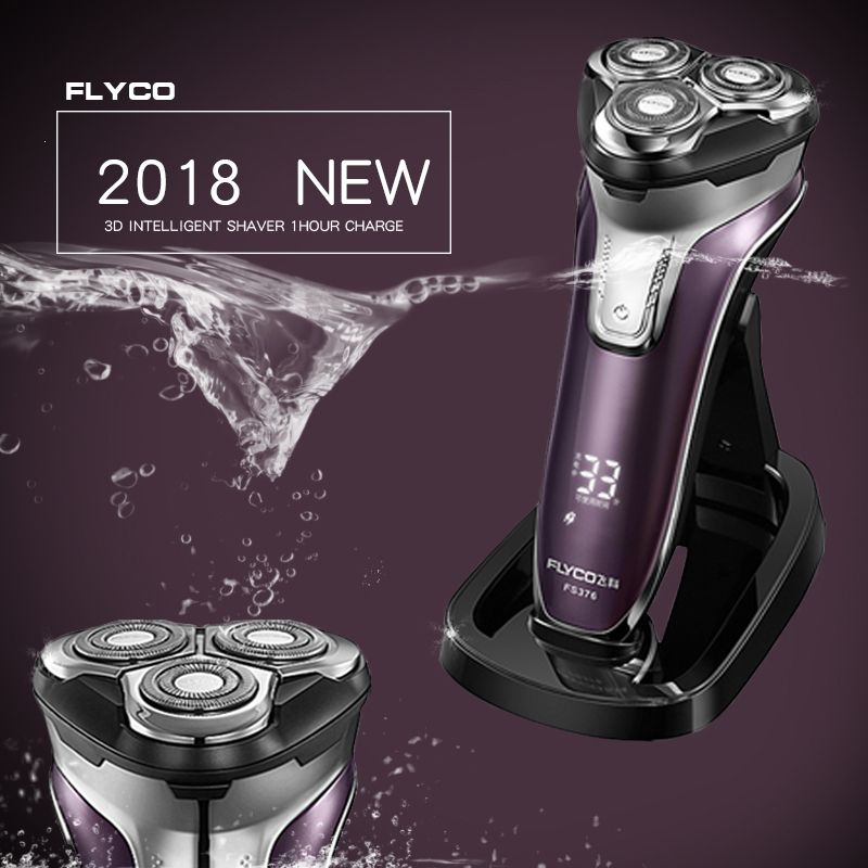 Flyco 3D floating head Rechargeable Portable body washable Electric Shaver Led Light Fast Charge Triple <font><b>Blade</b></font> barbeador FS376
