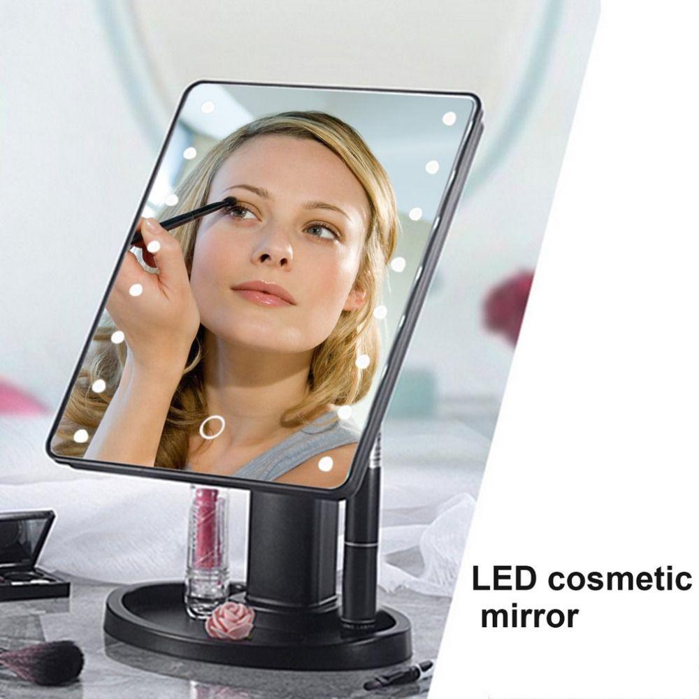 22 LED Портативный Для женщин лица Макияж зеркало 360 градусов вращения touch Индукционная Настольный косметический составляют зеркало инструме...