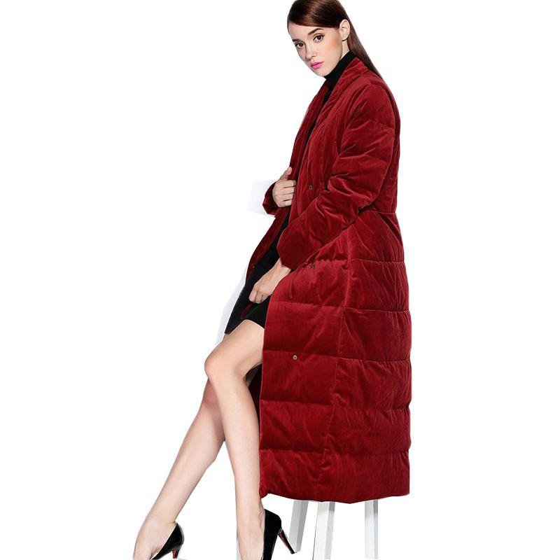 Hohe Qualität Frauen dicke Daunen gepolsterte jacke mantel Marke 2018 winter daunenmantel Samt stoff Parka casual Europäischen Stil outwear