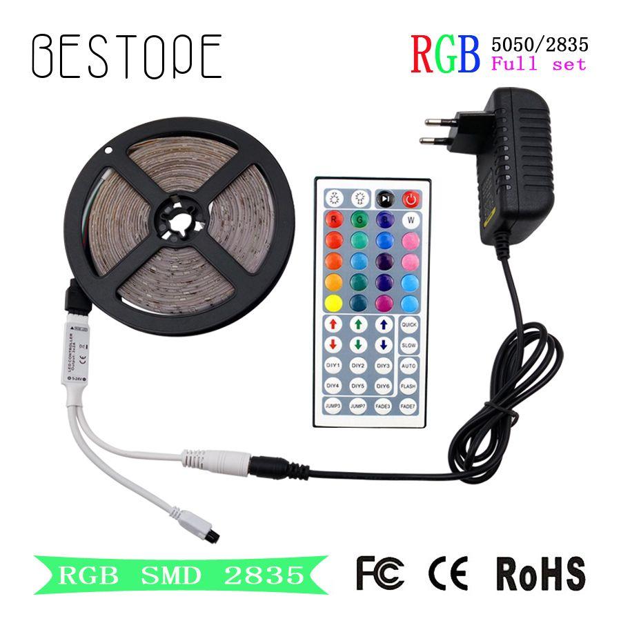 RGB bande smd LED 2835 lumière LED DC 12 V 5050 bande 5 M 10 M ruban Flexible étanche RGB ruban néon + contrôleur pour l'éclairage domestique