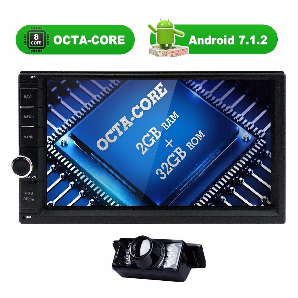 OctaCore 2+32G android 7.1 2din universal Car Radio No-DVD GPS Navigation player In dash Car PC Stereo video 4G SWC DVR RDS DVBT