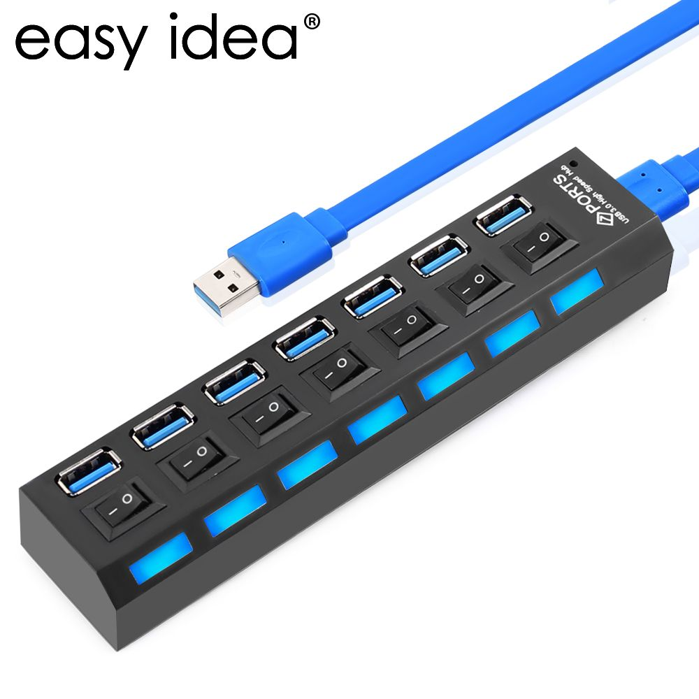 Haute Vitesse USB 3.0 Hub 7 Ports 5 Gbps USB HUB Splitter Hub USB 3.0 Sur/Off Adaptateur Câble Splitter Pour PC De Bureau portable