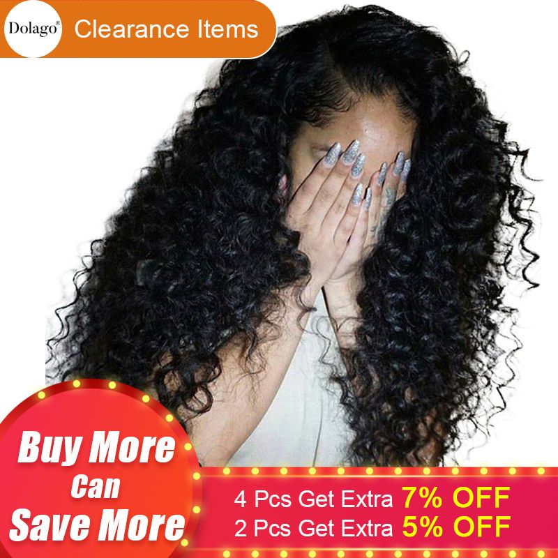 Deep Curly Lace Front <font><b>Human</b></font> Hair Wigs For Women 250% Density Brazilian Hair Lace Frontal Wig Pre Plucked Full Black Dolago Remy