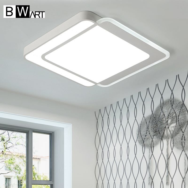 Bwart Modern Rectangle mdwell Led ceiling lights for living room bedroom AC85-265V White high quality Ceiling Lamp Fixtures