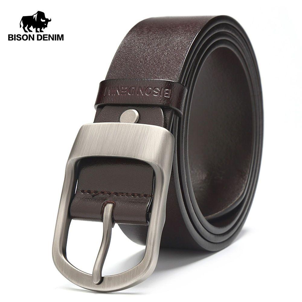BISON DENIM célèbre hommes ceinture Jeans en cuir véritable boucle ardillon Cowboy ceintures pour homme Vintage marque peau de vache ceinture ceinture N71228