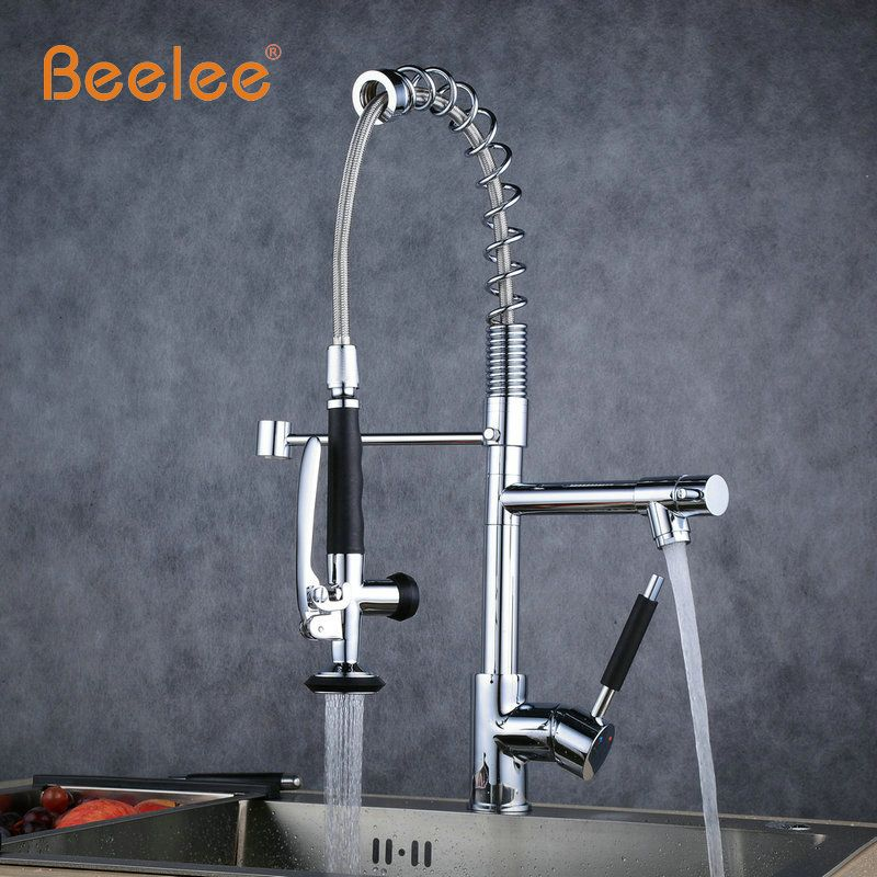 Beelee Spring Style Kitchen Faucet Brushed Nickel Faucet 360 Degree Rotating Kitchen Tap Brass Single Lever Deck Mounted Taps