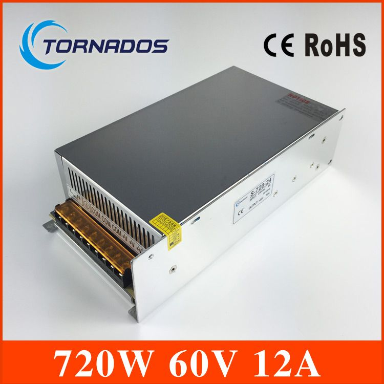 S-720-60 DC Power Supply 60V 12A 720W Switching Power Supply Transformer AC110V 220V TO DC 60V apply to Laser engraving machine