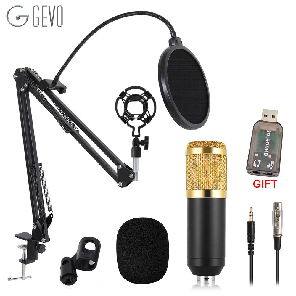 GEVO BM 800 Microphone For Computer Wired Studio Condenser Karaoke Mic BM800 And Pop Filter NB 35 Holder Arm For phantom power