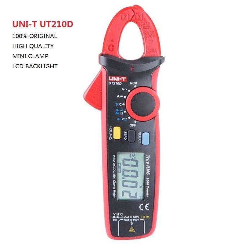 UNI-T UT210D Digital Clamp Meter Multimeter AC/DC Current Voltage Resistance Capacitance Temperature Measurement Auto Range