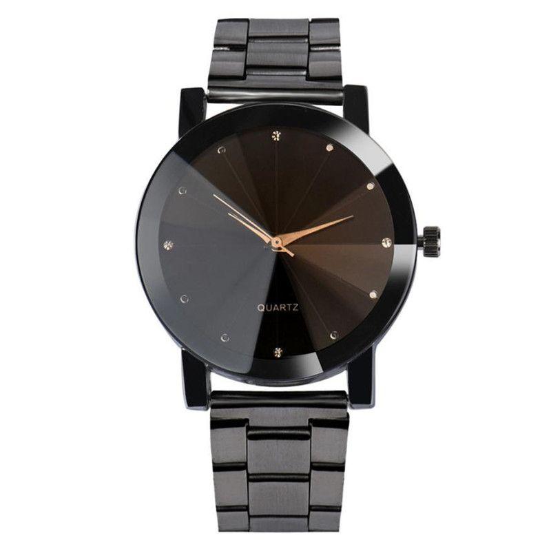 Дорин коробка Сталь ремешок для часов кварцевые наручные Часы ромб Стекло черный, серебристый цвет Цвет Для мужчин модные роскошные Бизнес ...