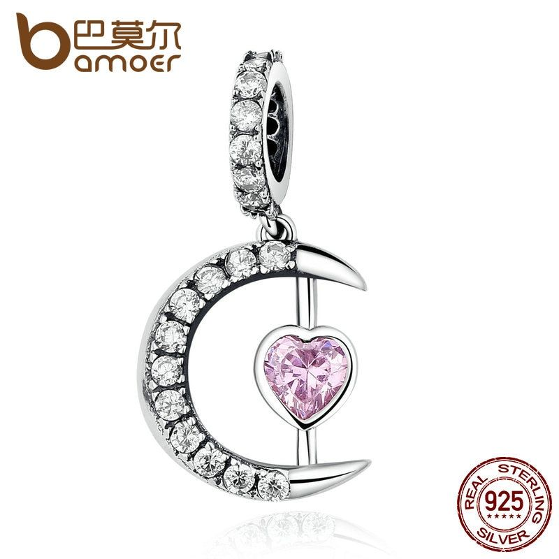 BAMOER 100% 925 Sterling Silver Pink Moon Heart Pendants Charms fit DIY Beads & Jewelry Makings Accessories SCC040