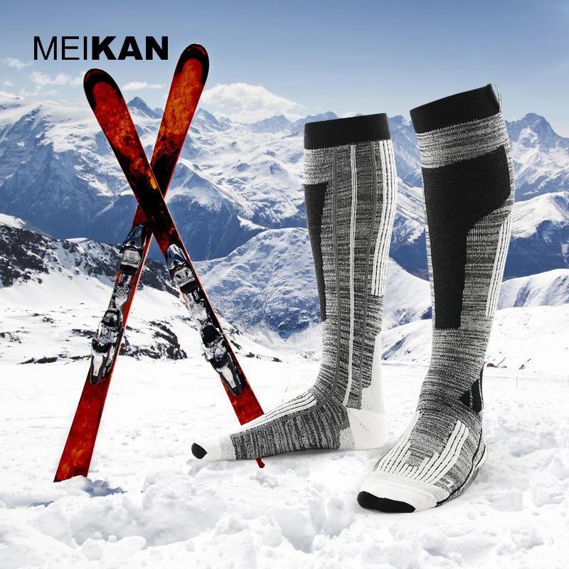 MEIKAN Men Ski Socks Wool Thick Outdoor Sport Socks Warm Compression Hiking Socks Knee High Wicking Skiing Socks