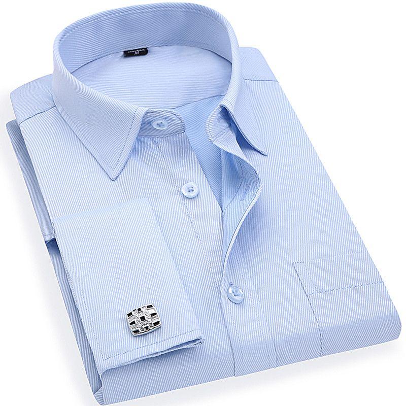 Мужская французский запонки платье в деловом стиле рубашки одежда с длинным рукавом белого и синего цвета твил Азиатский Размеры S, M, L, XL, XXL, ...
