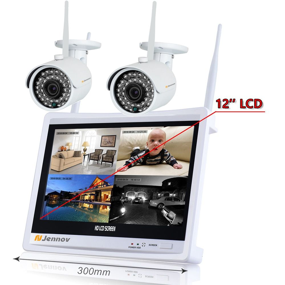 2CH 960P Wireless Security CCTV IP Camera System NVR LCD Monitor Audio Record wi-fi Video Surveillance Kits Set HD Nanny