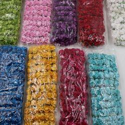 144 piezas Multicolor 1,5 cm rosa de papel hecho a mano flores artificiales para la decoración casera de la boda DIY Scrapbooking guirnalda flores