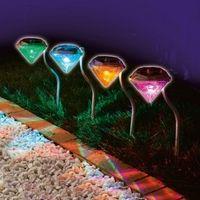 4 unids/lote ezlámparas de césped de energía Solar al aire libre impermeables LED Spot Light jardín camino de acero inoxidable paisaje Solar jardín Luminaria