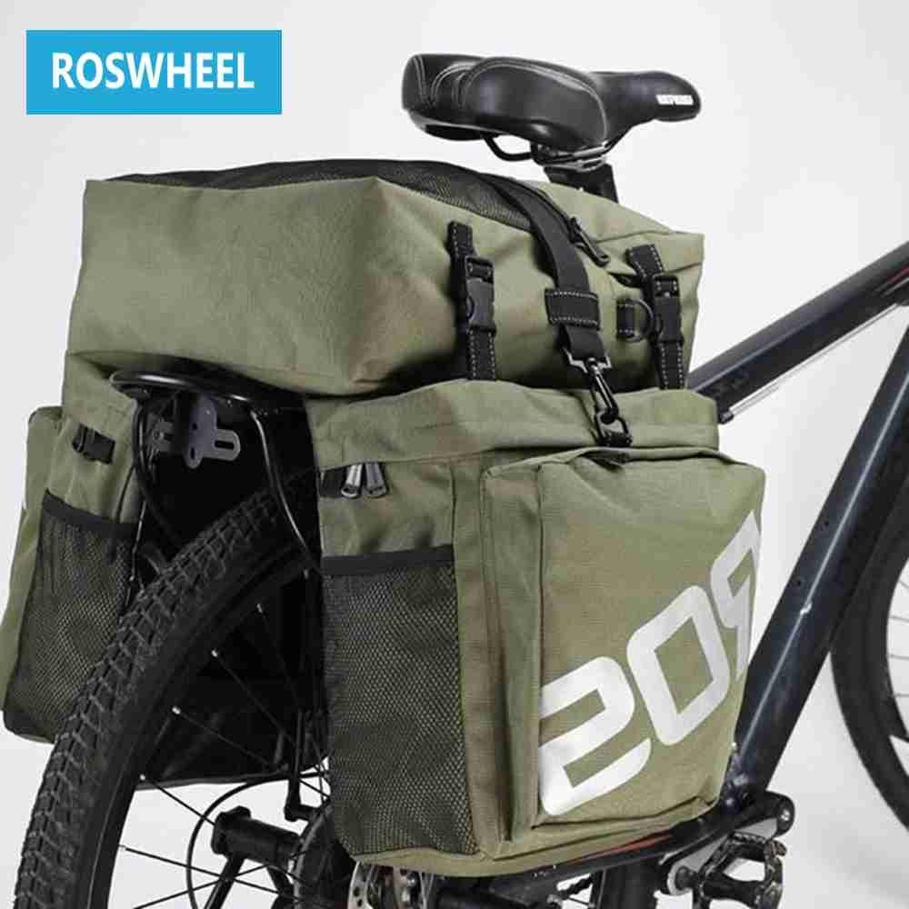 ROSWHEEL Bike Bags 37L MTB Mountain Bike Rack Bag 3 in 1 Multifunction Road Bicycle Pannier Rear Seat Trunk Bag