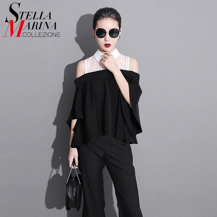 2017 Summer Women T-Shirt Half Sleeve <font><b>Hollow</b></font> Shoulders Black Patchwork Ruffle Style T Shirts Loose Pleated Chiffon Tee Tops 1251