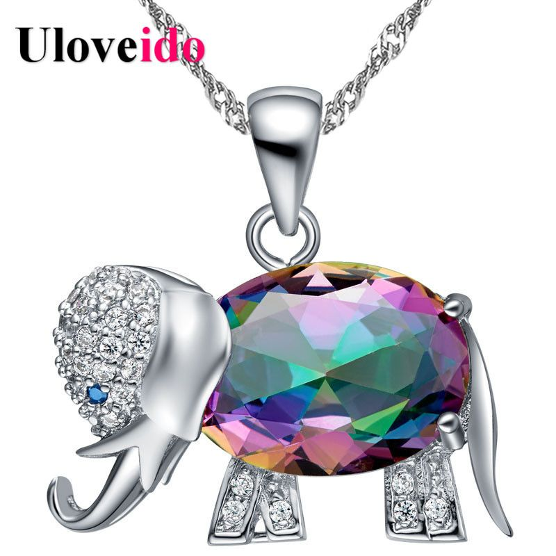 Uloveido Collier Rainbow Elephant Pendant Necklace Silver Chain Anime Necklaces & Pendants Cute Gifts For Girls 45% Off N1154