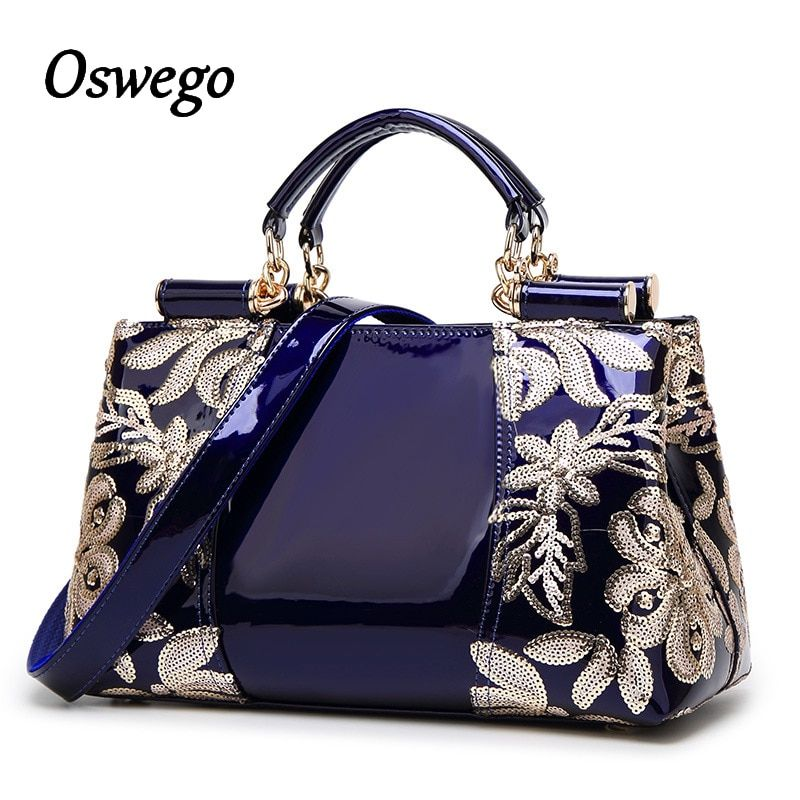 Luxury Design Fashioh Brand Women Bag Sequined Embroidery Genuine Leather Handbags Messenger Bag Tote Case for Ladies Dress