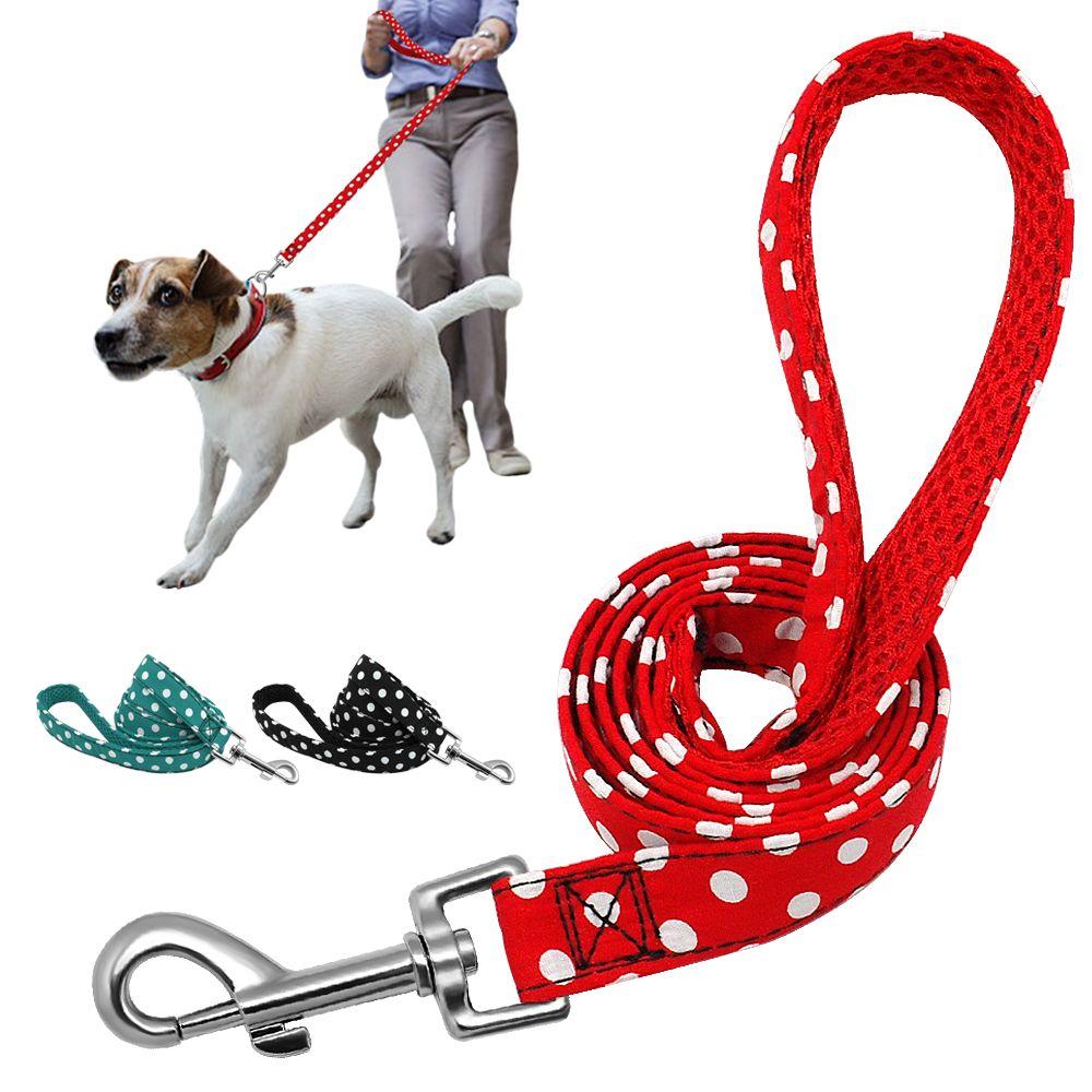 Laisse de chien de marche pour animaux de compagnie pour petits chiens moyens chats à pois chiot formation laisses de course conduit ceinture de corde en plein air 1.2 m