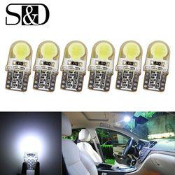 6 x auto T10 LED W5W bombillas LED blanco 194 168 lámpara LED 501 COB silicona Shell coche luces LED super brillante lado lámpara 12 V D030