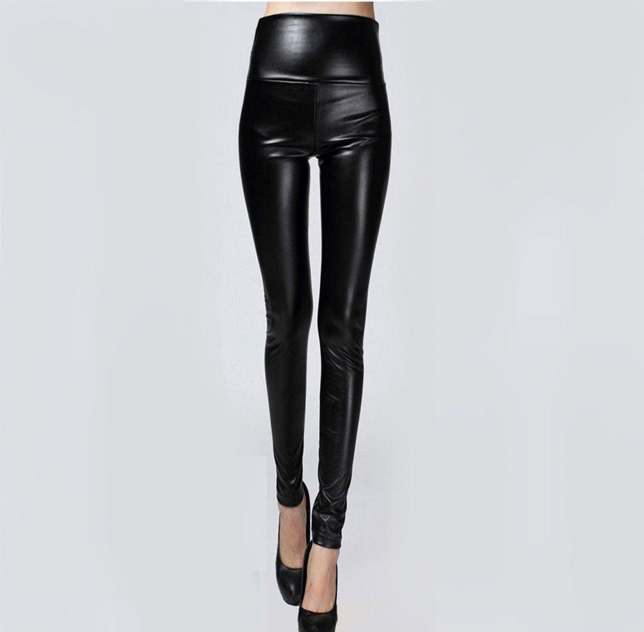 Лидер продаж осень-зима женская одежда скинни из искусственной кожи облегающие леггинсы сексуальные тонкие флисовые брюки дамы тонкий Иск...