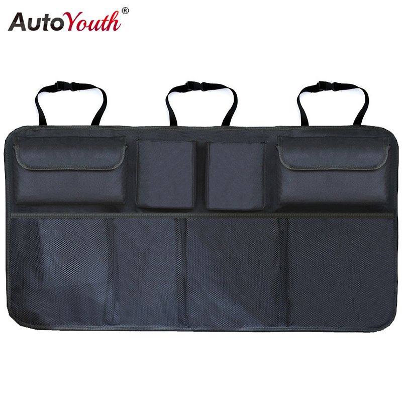 Car Trunk Organizer Adjustable Backseat Storage Bag Net High Capacity Multi-use Oxford Automobile Seat Back Organizers Universal