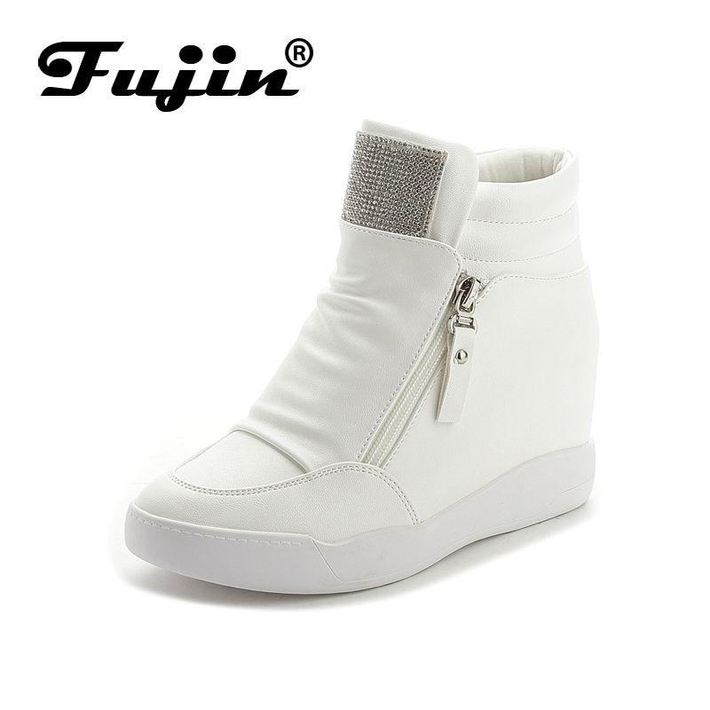 Фуцзинь бренд на осень-зиму на платформе Ботинки на каблуке Женская обувь с увеличенной платформе подошва женская модная повседневная Zip ...