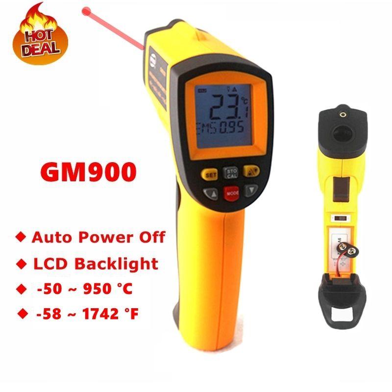 GM900 Digital Infrared Thermometer IR Laster Temperature Meter Non-contact LCD Gun Style Handheld -50-950C -58-1742F Pyrometer