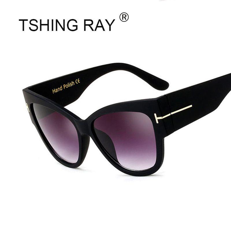 TSHING RAY Tom Fashion Brand Designer Cat Eye Women Sunglasses Female Gradient Points Sun Glasses Big Oculos feminino de sol TF