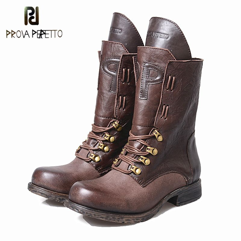 Prova Perfetto 2017 Winter New Styles Women Short Boots High Quality 100% Cow Genuine Leather Do Old Thickness Bottom Mid Boots