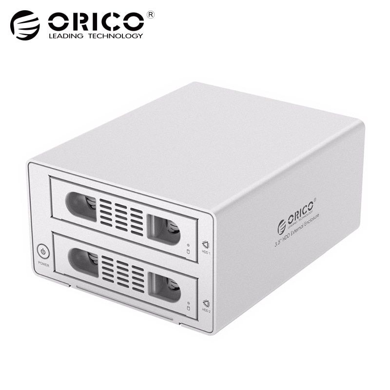 ORICO 3,5 2bay HDD 16 TB Aluminium SATA2.0 USB 3.0 & eSATA HDD Externe Docking Station box Raid-funktion HDD gehäuse