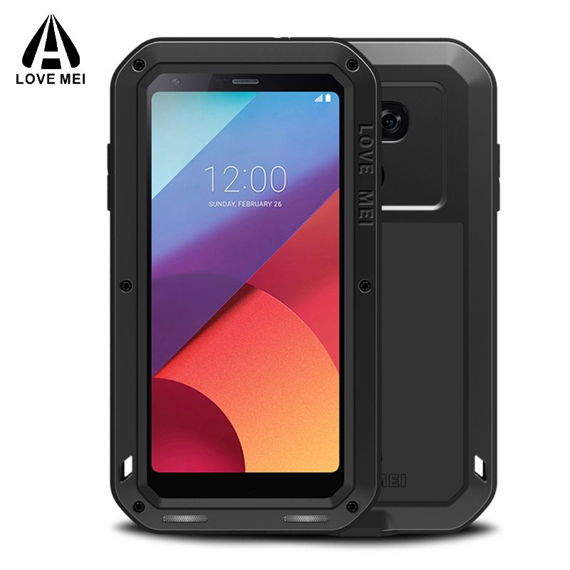 Aluminum Metal Armor For LG G6 Case + Gorilla Glass Shockproof Silicone Cover Full Body Phone Protective Case For LG G6 Cover