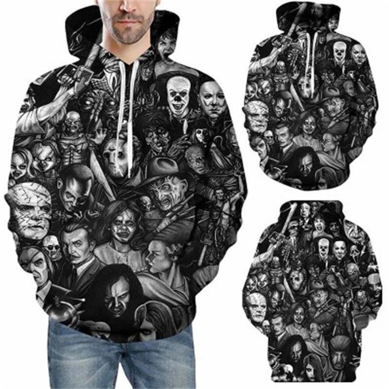 Men Horror Clown Autumn Drawstring 3D Printed Hoodies Men Women Couple Hoodies 3D Print Hoody Casual Pullovers Streetwear Tops