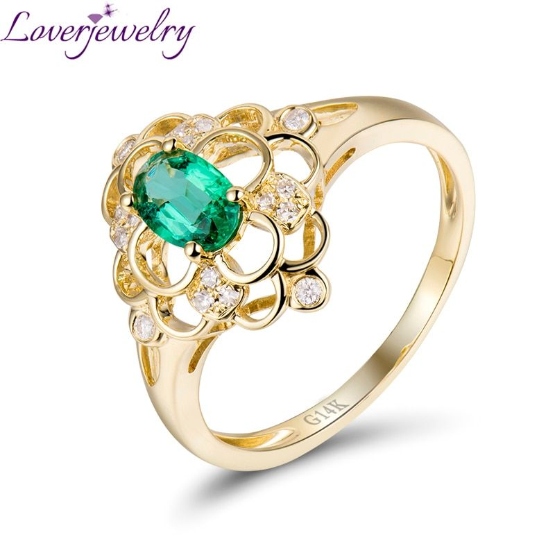 Flower Shape Diamond Jewelry Natural Emerald Ring 14K Yellow Gold Good Gem for Women Party