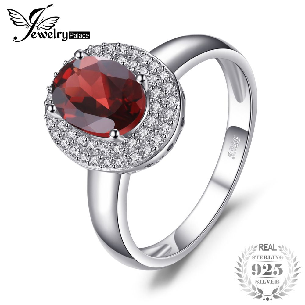 JewelryPalace Classic 1.9ct Natural Red Garnet Halo Anniversary Engagement Ring 925 Sterling Silver Brand Fine Jewelry For Women