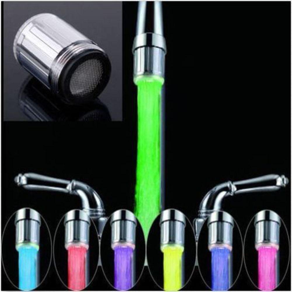 1 шт. водопроводный кран с подсветкой 7 цветов Изменение душ свечение потока Нажмите универсальный внешний адаптер Слева Винт Glow Кухня Ванна...