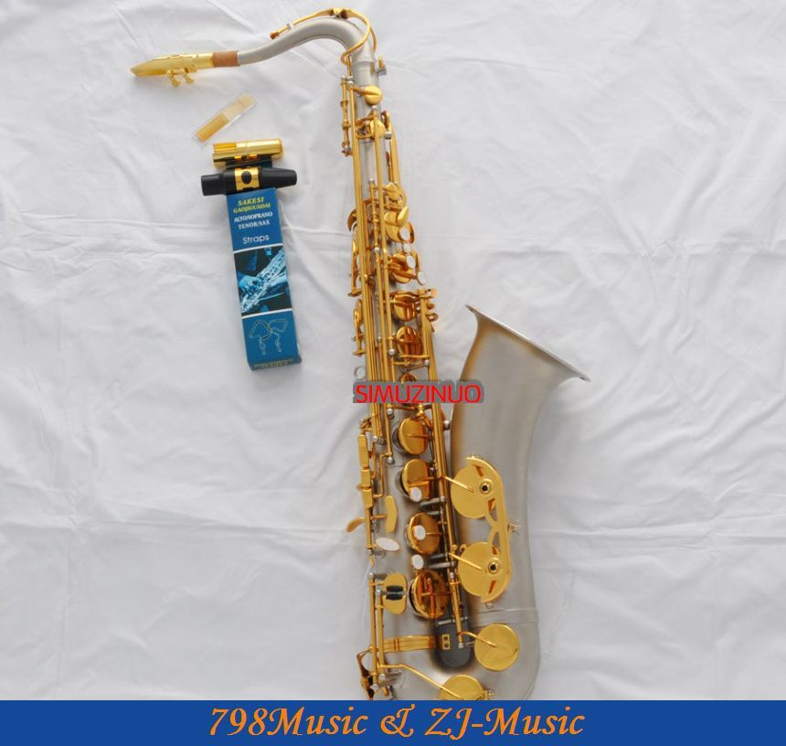 Professional New Satin Nickel Tenor sax High F# saxophone With Case Metal Mouthpiece