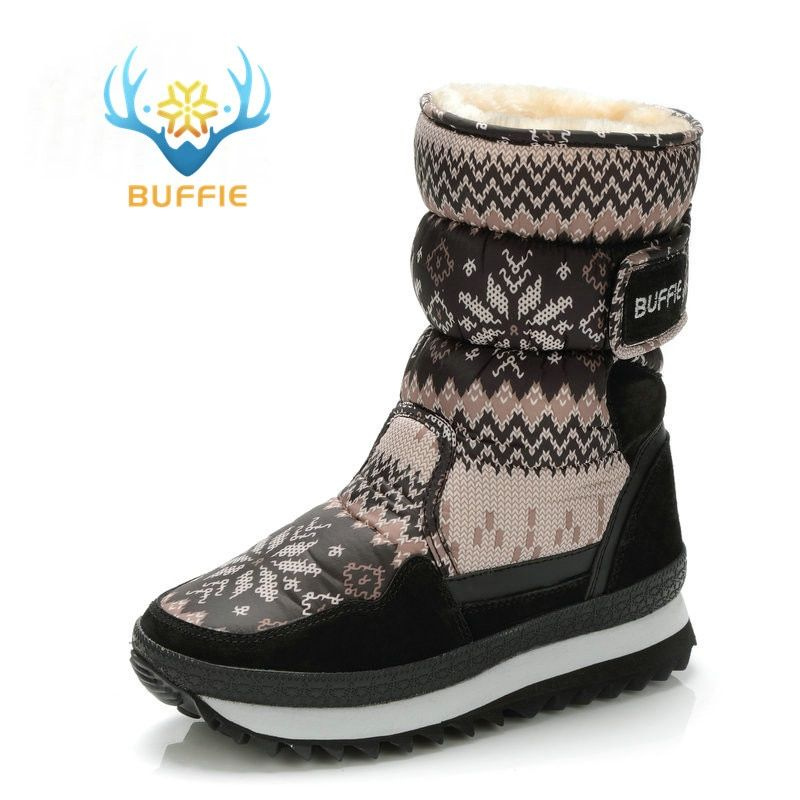 Buffie Winter Women boots grey colour <font><b>snow</b></font> boot warm plush fur big full size cow suede leather binding Shoes free shipping best