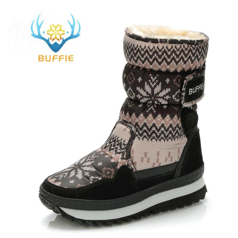 Buffie hiver femmes bottes couleur grise botte de neige chaud en peluche fourrure grande taille pleine vache daim cuir reliure chaussures livraison gratuite meilleur