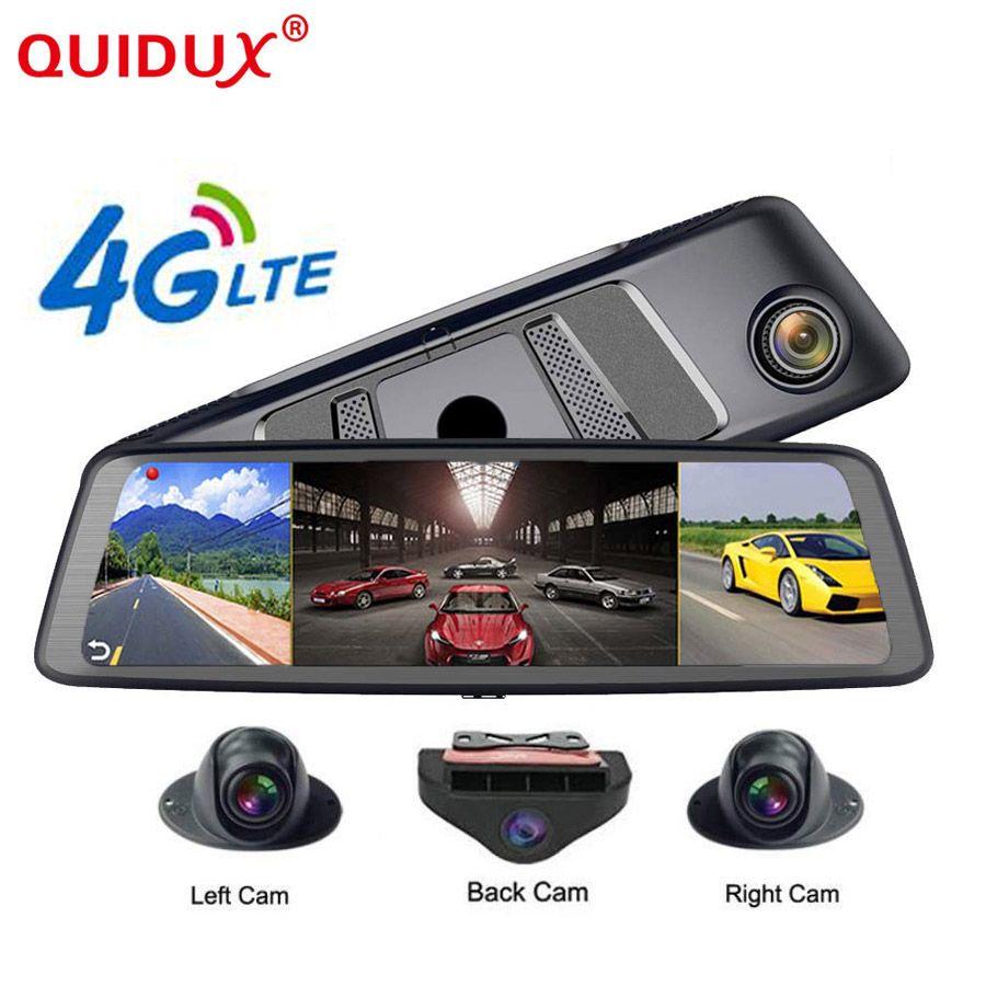 QUIDUX 2019 Auto DVR Kamera ADAS 4 Kanal Video Recorder Spiegel 4G 10 Media Rückspiegel 8 Core android Dash Cam FHD 1080 P