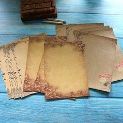 Kraft Brun Lettre Papier 16 feuilles Vintage Fleur Tête Design Lettre Papier à Lettres Lettre Pad Dessin Sketch Pad Papeterie