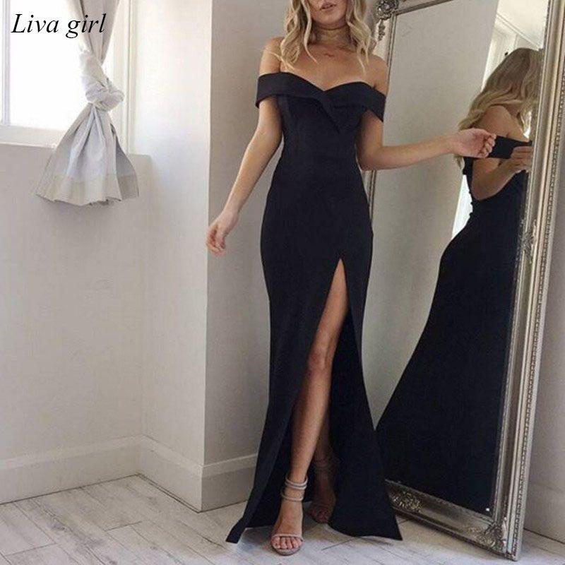 2018 vestido de verano elegante Bohemia mujeres noche sexy partido formal Maxi Vestidos sólido sin tirantes primavera chica Vestidos vestidos Y5
