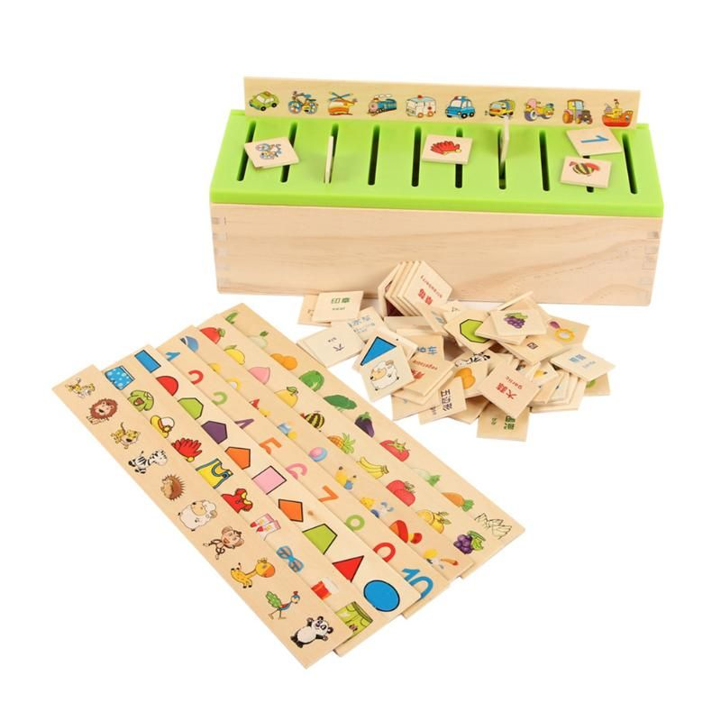 Mathematical Knowledge Classification Toy Box Child Cognitive Matching Kids Montessori Early Educational Learning Wood Box